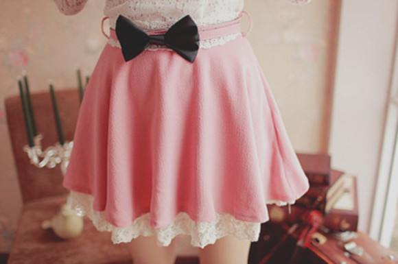 skirt mini skirt bows pink