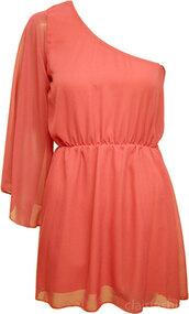 dress,coral,one shoulder