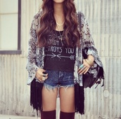 shorts,t-shirt,blouse,cardigan,cool girl style,hair,gold jewelry,gold,bag,lovely,top,graphic tee,hippie shirt,kimono,High waisted shorts,black and white blouse,gold necklace,arrows,destroy what destroys you,hat,denim shorts,blue jean shorts,womens short shorts,short shorts,cute,cute top,necklace