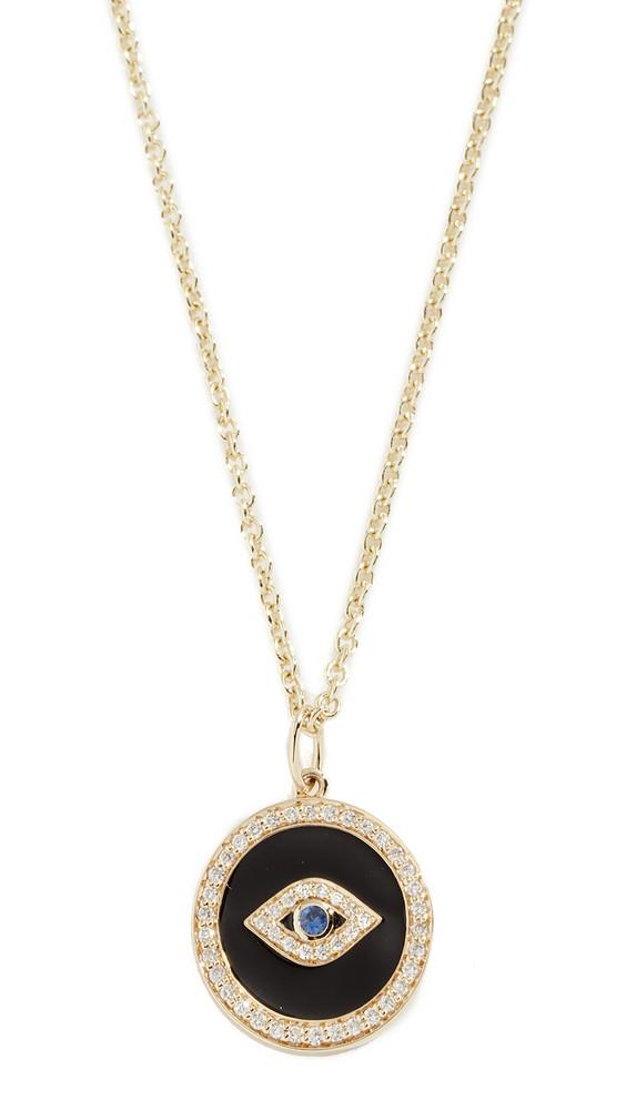 Sydney Evan 14k Bezel Evil Eye Enamel With Pave Necklace in black / gold / yellow