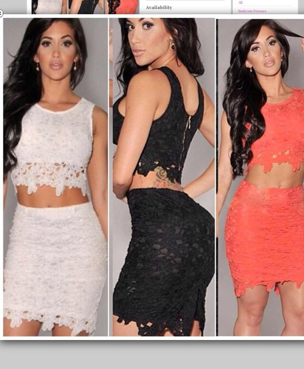 dress lace two piece body con