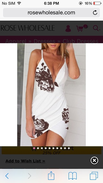 cleavage v neck dress v neck plunge v neck summer dress draped short dress sexy dress party dress black and white dress roses floral