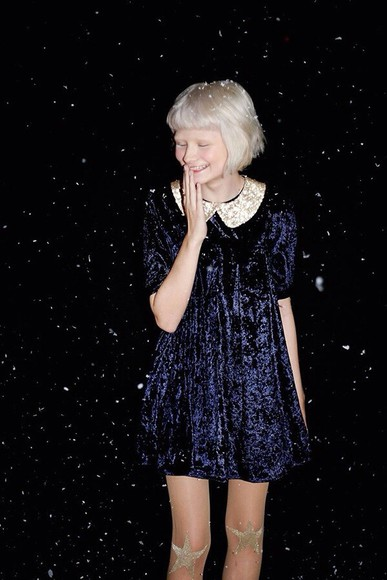 stockings dress blue velvet peter pan collar collar pretty soft navy blue winter stars sheer