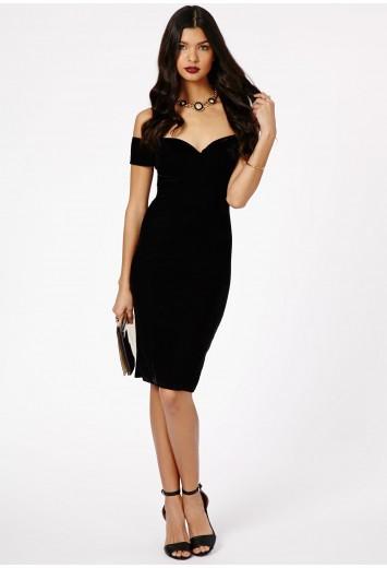 38138621021b Rila Velvet Bardot Bodycon Midi Dress - Dresses - Missguided