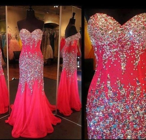 Hot Pink Sparkly Prom Dresses