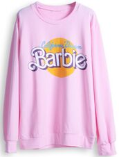 sweater,pink,barbie,doll,cute,girly,fall outfits,winter outfits,chilly weather,comfy,california dream,swag,barbie sweatshirt,sweatshirt,california,dream,shirt,tumblr,top,pullover,quote on it