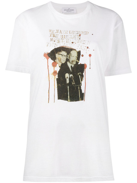 t-shirt shirt t-shirt short women white cotton print top