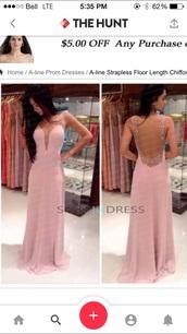 dress,open back dresses,slit dress,blush pink,blush dress,maxi dress,prom dress