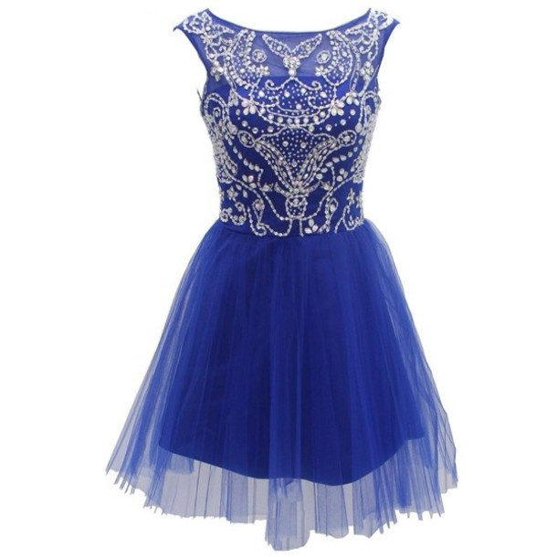 dress royal blue dress short prom dress lace beading