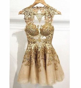 dress gold short lace shoulder cut embroidered