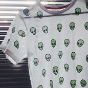 shirt,alien,top,white,t-shirt,green,pattern,cute,summer,blouse,other awesome stuff,see through,cropped,alien white,rad,youtuber,weird,cool,grunge,ufo,tumblr,teenagers,hipster,alien shirt,white alien tshirt,pale,white t-shirt,alien emoji,alien tshirt,emoji print,idk,cartoon,kawaii,pastel,japan,japanese,lolita,warm,sweater,fluffy,harajuku,pink,cats,peach,shoes,sneakers,adidas,fashion,style,adidas shoes,adidas superstars,boogzel,nail polish,nail art,negative space nail art,jewels,necklace,pendant