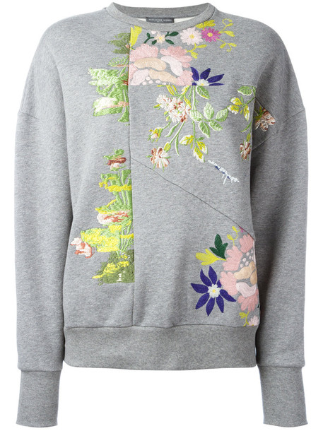 Alexander Mcqueen sweater floral sweater women floral cotton grey