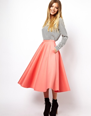 ASOS Full Midi Skirt in Scuba at ASOS