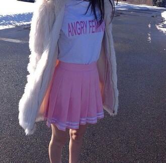 t-shirt pale pastel cute grunge pale grunge pale pink pink shirt skirt coat weheartit