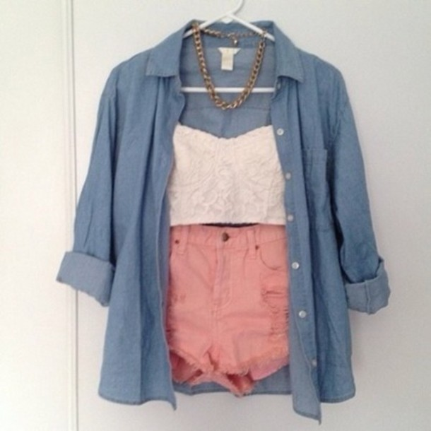 jacket denim jacket shirt shorts blouse