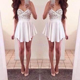 dress white dress lace dress cute dress