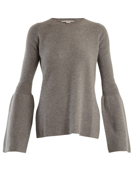 Stella McCartney sweater wool sweater flare wool light grey