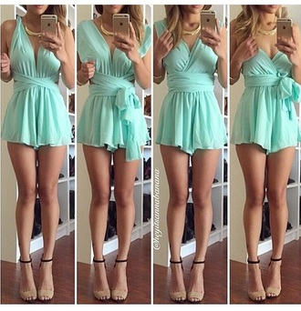 jumpsuit romper high heels cute high heels shoes outfit style fashion accessories nude high heels turquoise mint jumpsuit t-shirt