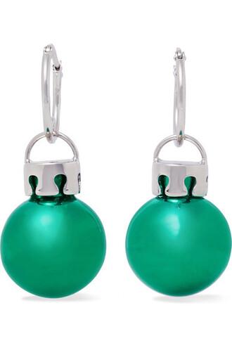 ball earrings silver green jewels