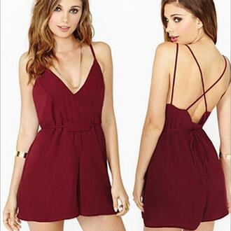 jumpsuit backless dress low v neck 2015new