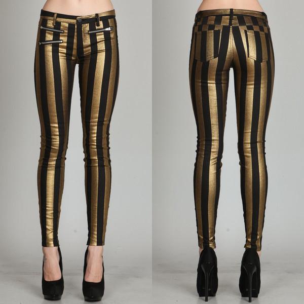 pants mark line stripes stripes bottoms jeans zip gold black makeup table vanity row dress to kill chic striped pants