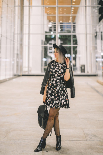 stripes'n'vibes blogger jacket dress shoes hat tights fall outfits ankle boots floral dress backpack leather jacket