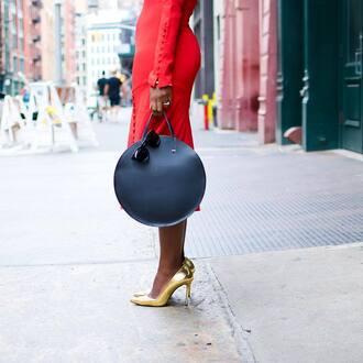 bag tumblr black bag round bag high heels pumps pointed toe pumps high heel pumps gold heels gold shoes red dress dress midi dress round tote