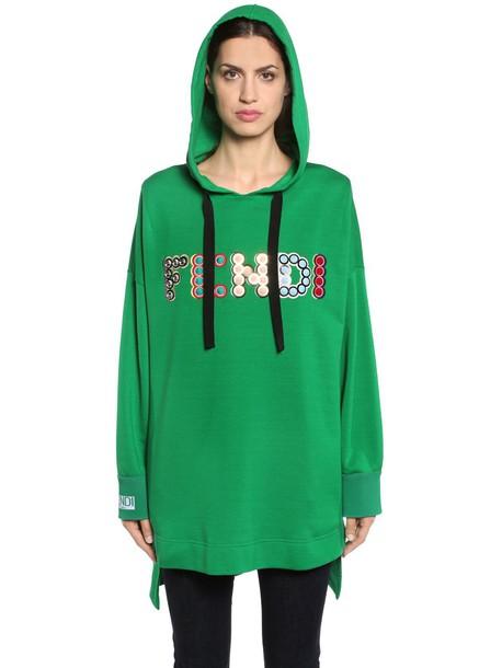 FENDI Hooded Embellished Logo Sweatshirt in green