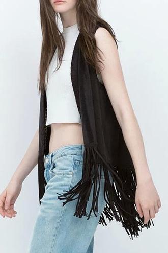 jacket coat sleeveless sleeveless coat fringes zaful casual streetwear crop tops denim black