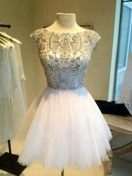 sparkly ingerichte top flair rok sieraden in zilver geborduurde kant witte korte afstuderen jurk prom jurk