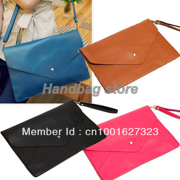 2012 Fashion Lady's Clutch Envelop Bag Messenger Handbag 4 Colour Blue, Red, Black ,Brown Free Shipping 3138-in Clutches from Luggage & Bags on Aliexpress.com