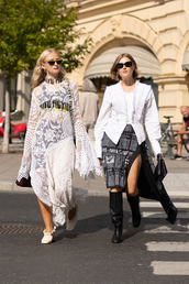 top,white blouse,long sleeves,thigh high boots,side split,shoes,white dress,sunglasses