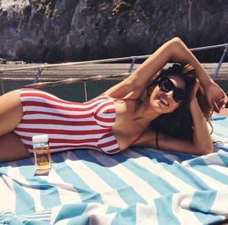 swimwear bikini red sweet cute sexy beach stripes dolce and gabbana