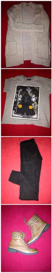 sweater,black,skinny pants,star wars,t-shirt,brown combat boots,studded shoes,pink,knitted cardigan,jeans,cardigan,shirt