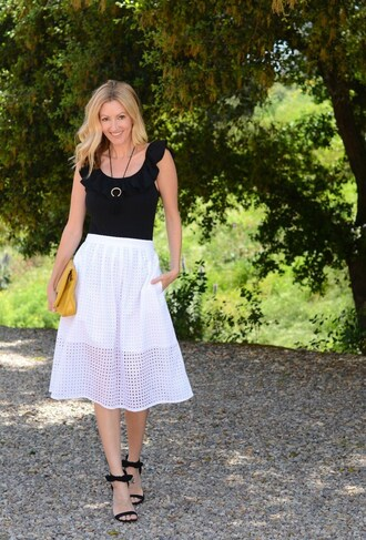 the stylish housewife blogger skirt shoes bag jewels black top white skirt yellow bag pumps sandals high heel sandals