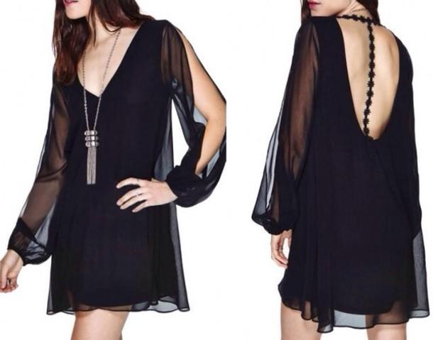 dress black dress see through dress