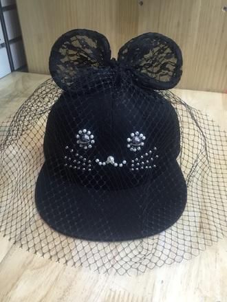 hat cap snapback black snapback veil lace hat lace cap casual hat baseball cap