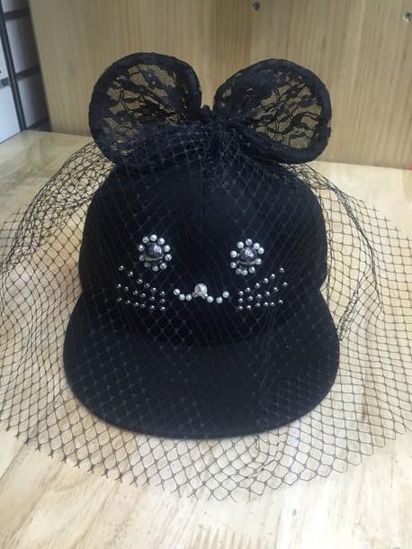 hat cap snapback black snapback veil lace hat lace cap casual hat baseball  cap 0e8a40cf309
