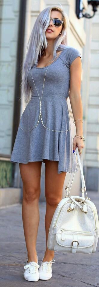 dress grey summerdress backpack bag