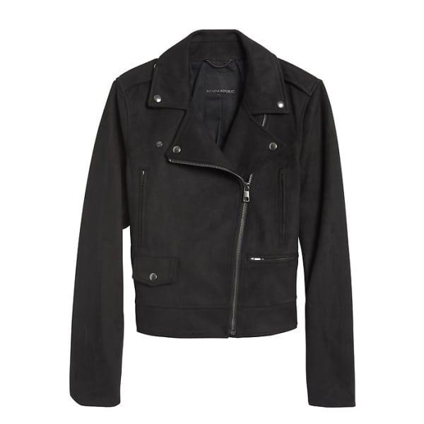Banana Republic Women's Vegan Suede Moto Jacket Black Regular Size XL