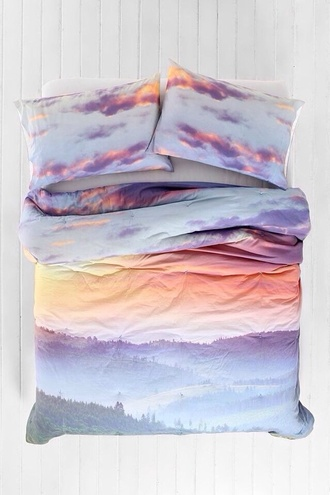 sunset sunset print bedspread bedcover bedding holiday gift clouds sky bedcover pajamas cute pink white blue purple orange pastel hair accessory top