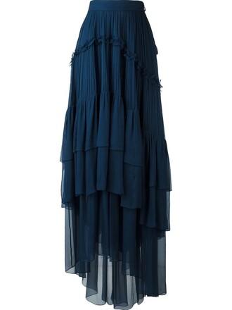 skirt pleated women blue silk