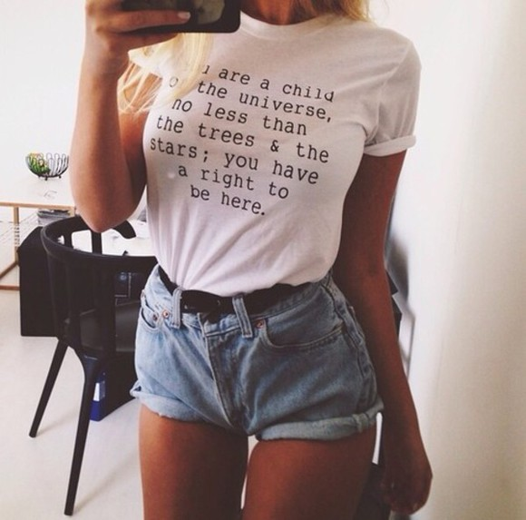 white tee t-shirt quote on it