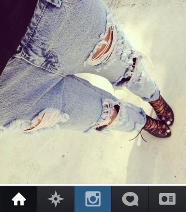 Tall 36in Blue Ripped Boyfriend Jeans