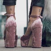 shoes,tumblr,baby pink sandals,velvet,velvet shoes,velvet sandals,thick heel,block heels,ankle strap heels,platform heels,pinkvelevt,pinkvelvetshoes,pink shoes,pink,heels
