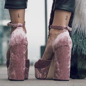 shoes tumblr baby pink sandals velvet velvet shoes velvet sandals thick heel block heels ankle strap heels platform heels