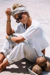 pants,boho,beach,cozy cute,comfy pants,grey,white,loose,shirt,headband