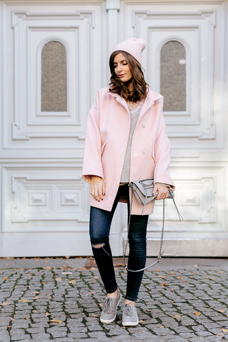 simple et chic blogger pants jacket pink coat