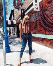 top,striped top,slide shoes,jeans,crossbody bag,sunglasses,belt