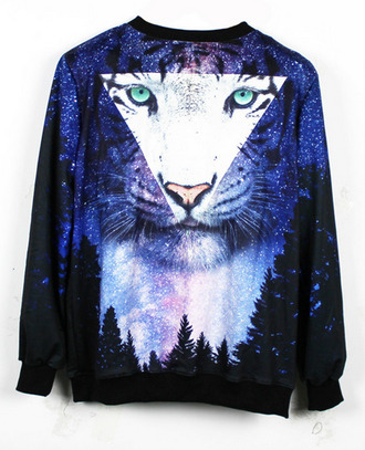 sweater tiger shirt tiger tiger face forest whte